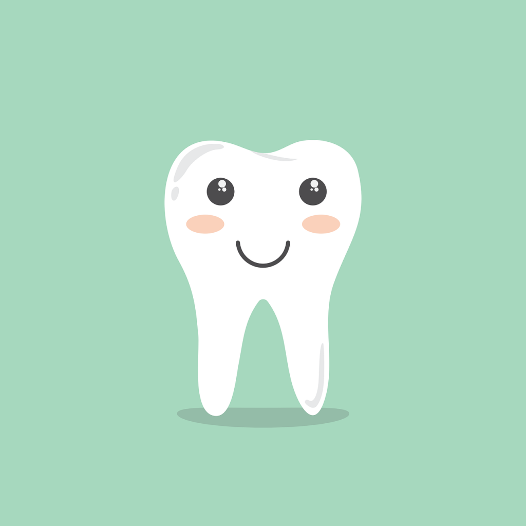 Cute tooth graphic with dentist blue background.